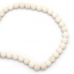 Наниз мъниста полускъпоценен камък ВУЛКАНИЧЕН - ЛАВА бял топче 10 мм ~39 броя