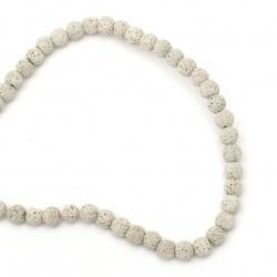Наниз мъниста полускъпоценен камък ВУЛКАНИЧЕН - ЛАВА сив топче 8~9 мм ~49 броя