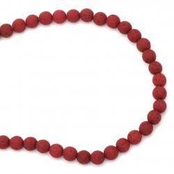 Наниз мъниста полускъпоценен камък ВУЛКАНИЧЕН - ЛАВА бордо топче 8 мм ~49 броя