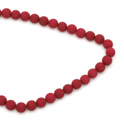 Volcanic lava rock,  natural gemstone round beads string, burgundy ball 10 mm ~ 39 pieces
