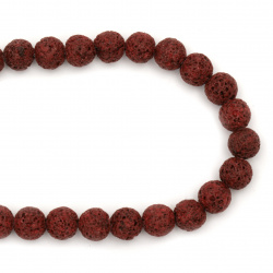 Margele de sfoară piatră semiprețioasă VOLCANIC - LAVA mingea burgundă 10 mm ~ 39 bucăți