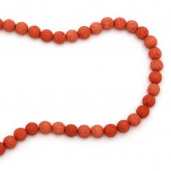 Наниз мъниста полускъпоценен камък ВУЛКАНИЧЕН - ЛАВА оранжев топче 8 мм ±49 броя