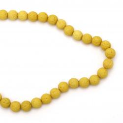 Πέτρα λάβα ημιπολύτιμη χάντρα 10 mm κίτρινο~ 39 τεμάχια