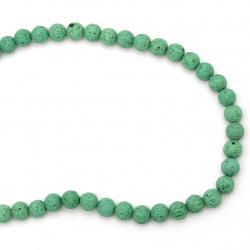Наниз мъниста полускъпоценен камък ВУЛКАНИЧЕН - ЛАВА зелен топче 6 мм ~63 броя