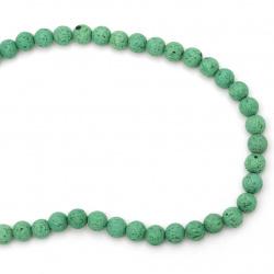 Наниз мъниста полускъпоценен камък ВУЛКАНИЧЕН - ЛАВА зелен топче 8 мм ~49 броя