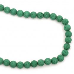 Πέτρα λάβα ημιπολύτιμη χάντρα 10 mm πράσινο ~ 39 τεμάχια