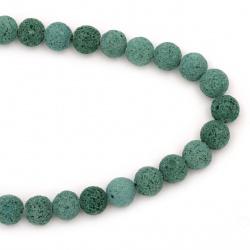 Șiraguri de margele din piatră semi-prețioasă VOLCANIC - șirag de mărgele verde LAVA 12 ~ 13mm ~ 33 bucăți