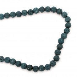 Natural volcanic lava rock, semi-precious stone string beads, oil green ball shape 6 mm ~ 63 pieces