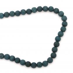 Наниз мъниста полускъпоценен камък ВУЛКАНИЧЕН - ЛАВА маслено зелен топче 6 мм ~63 броя