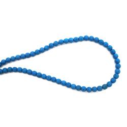 String volcanic lava rock, natural semi-precious stone, sky blue ball beads 6 mm ~ 63 pieces