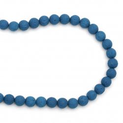 Πέτρα λάβα ημιπολύτιμη χάντρα 10mm μπλε ~ 39 κομμάτια