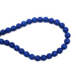 Margele de sfoară piatră semiprețioasă VOLCANIC - bilă albastră LAVA 10 mm ~ 39 bucăți