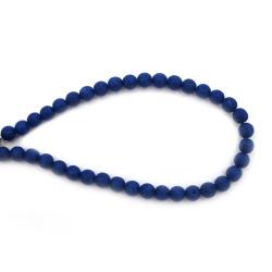 Наниз мъниста полускъпоценен камък ВУЛКАНИЧЕН - ЛАВА кралско син топче 8 мм ~49 броя
