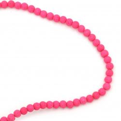 Наниз мъниста полускъпоценен камък ВУЛКАНИЧЕН - ЛАВА розов електрик топче 6 мм ~63 броя
