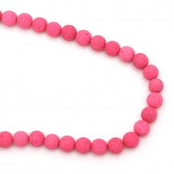 Наниз мъниста полускъпоценен камък ВУЛКАНИЧЕН - ЛАВА розов електрик топче 8 мм ~49 броя