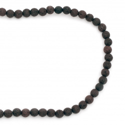 Volcanic lava rock,  natural gemstone round beads strand, brown ball shape 6 mm ~ 63 pieces