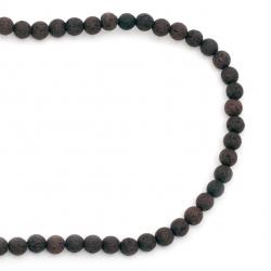 Наниз мъниста полускъпоценен камък ВУЛКАНИЧЕН - ЛАВА кафяв топче 6 мм ~63 броя