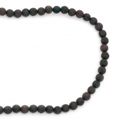 Volcanic lava rock, natural semi-precious stone string beads, brown ball 8 mm ~ 49 pieces