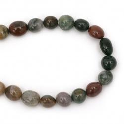 Наниз мъниста полускъпоценен камък АХАТ ИНДИЙСКИ 10~13x11~15 мм ~35 броя