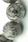 Наниз мъниста полускъпоценен камък МРАМОР натурален сив топче 6 мм ~66 броя