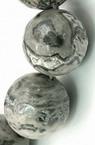 Наниз мъниста полускъпоценен камък МРАМОР натурален сив топче 8 мм ~48 броя