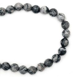 Наниз мъниста полускъпоценен камък МРАМОР натурален сив топче 10 мм ~38 броя