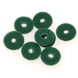 Шайба велур 10x2 мм зелена -2.95 грама ~105 броя