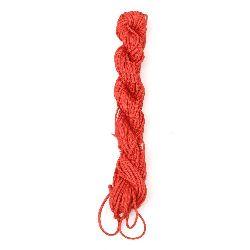 Шнур полиестер 2 мм червен ~12 метра