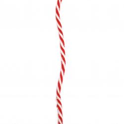 Шнур ластик 5 мм бял и червен полиестер -9.5 метра