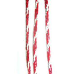 Шнур среб. ламе плосък 2,5 мм 3бели 3червено К -50м.