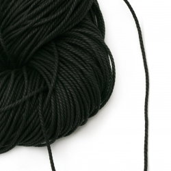 Cotton cord 2 mm 3 layers black ~ 90 meters