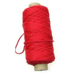 Шнур 2 мм гривни и гердани червен -100 метра