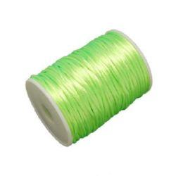 Шнур полиамид лъскав 2 мм зелен електрик -10 метра