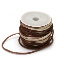 Polyamide jewellery cord 2 mm brown melange -10 meters