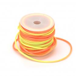Snur poliamidă lucios 2 mm electric galben-portocaliu -10 metri