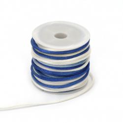 Шнур полиамид лъскав 2 мм бяло син меланж -10 метра