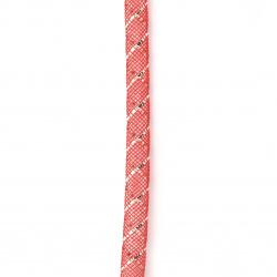 Шнур мрежест тръбичка 8 мм червен с ламе-5 метра