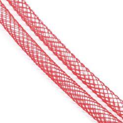 Шнур мрежест тръбичка 4 мм червен -6 метра
