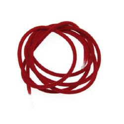 Rubber Cord, tube velvet 3mm hole 2mm red -5m