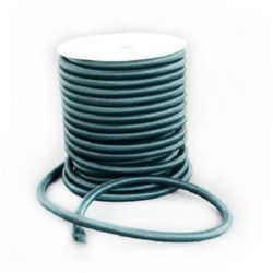Силиконова тръбичка 5 мм дупка 2 мм облечена с конец полиестер зелен тъмен -1 метър