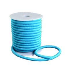 Силиконова тръбичка 5 мм дупка 2 мм облечена с конец полиестер син -1 метър