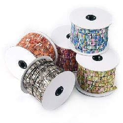 Fabric and Metallic  cord 9x1.2 mm flat MIX -1 meter