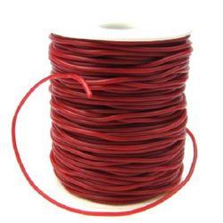 Шнур силикон 2 мм дупка 0.5 мм тъмно червен -52 метра