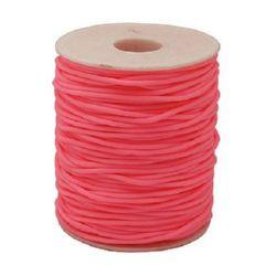 Шнур силикон 2 мм дупка 0.5 мм розов -52 метра