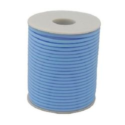 Rubber Cord, 2 mm hole 0.5 mm sky blue -52 meters