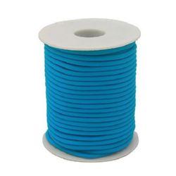 Шнур силикон 2 мм дупка 0.5 мм тюркоазено син -52 метра