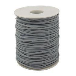 Шнур силикон 2 мм дупка 0.5 мм сив -52 метра