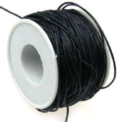 Памучен колосан шнур/конец/ 1 мм черен -80 метра