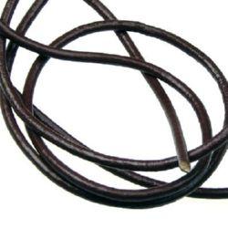 Шнур естествена кожа 2 мм светло кафяв -1 метър