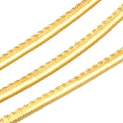 Artificial leather cord 4 mm with gold color filling -1 meters